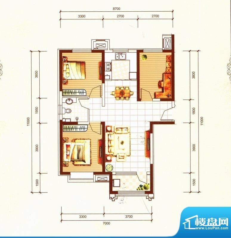 万都城8#户型H 3室2面积:105.00m平米