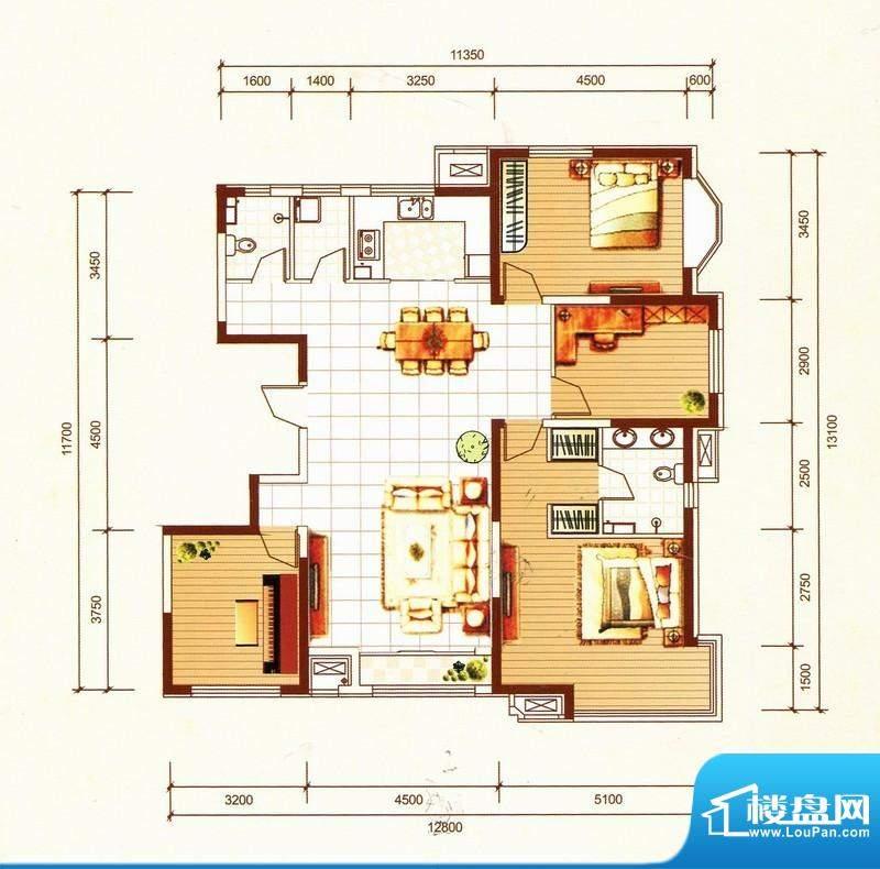 万都城4#户型G 4室2面积:165.00m平米