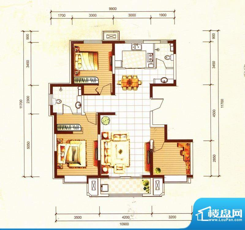 万都城4#户型F 3室2面积:125.00m平米
