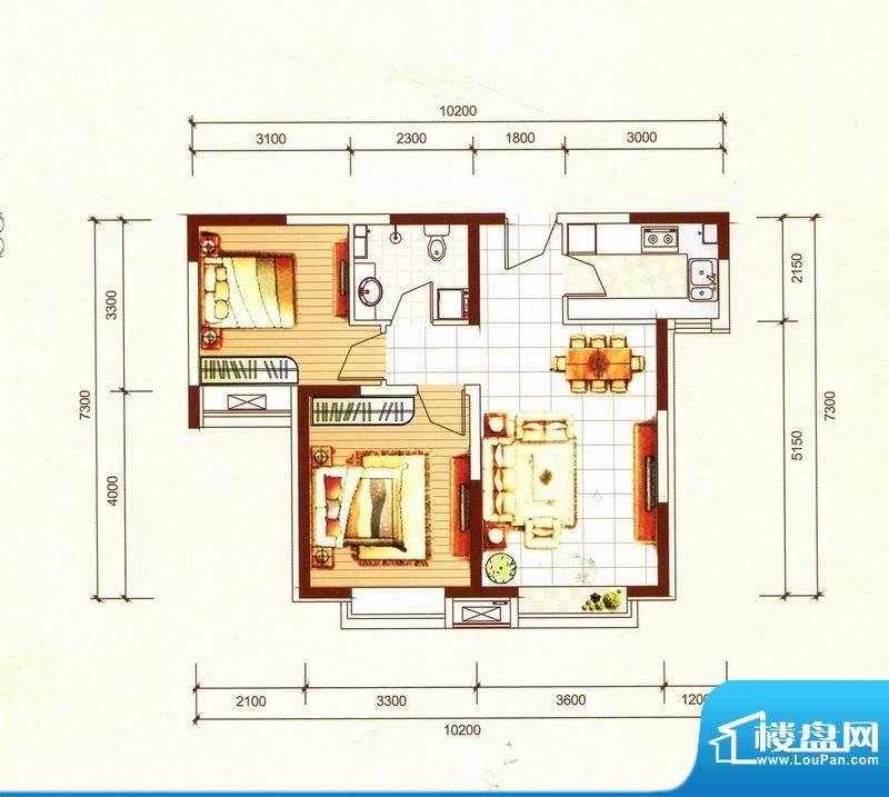 万都城8#户型I 2室2面积:75.00m平米