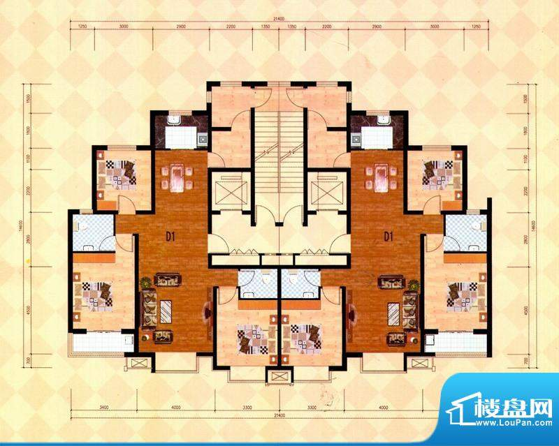丽景福苑D1户型 3室面积:139.98m平米