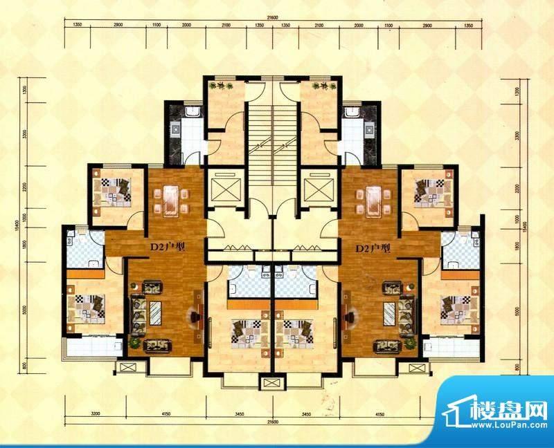 丽景福苑D2户型 3室面积:139.98m平米