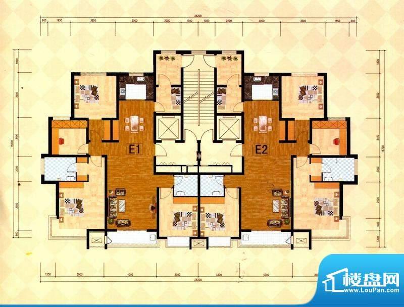 丽景福苑E户型 4室2面积:171.50m平米