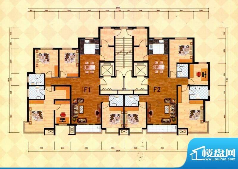 丽景福苑F户型 4室2面积:195.00m平米