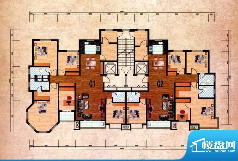 丽景福苑G户型 5室2面积:224.75m平米