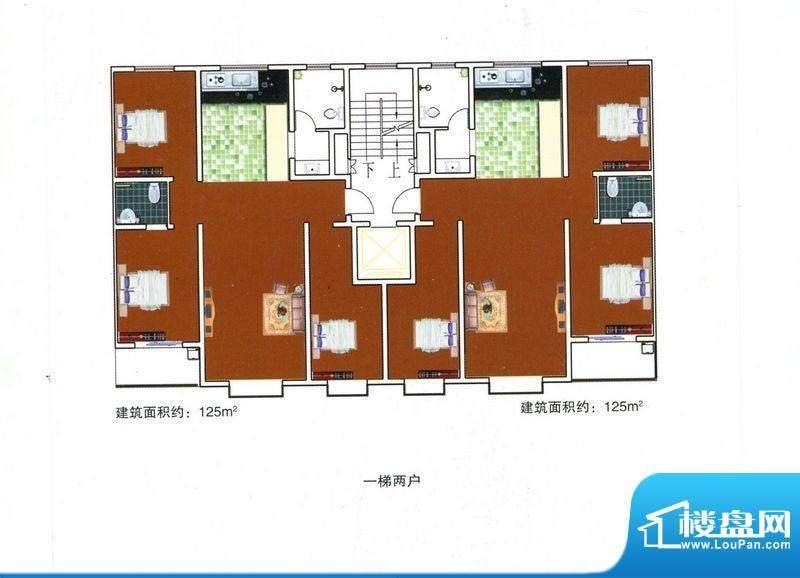 成博牧马户型1 6室2面积:125.00m平米