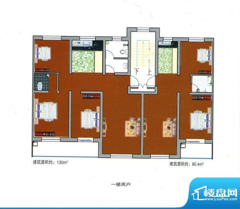 成博牧马户型3 3室1面积:130.00m平米