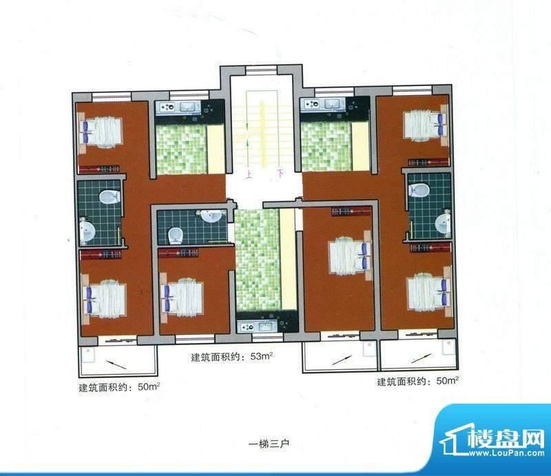 成博牧马户型 2室1厅面积:50.00m平米
