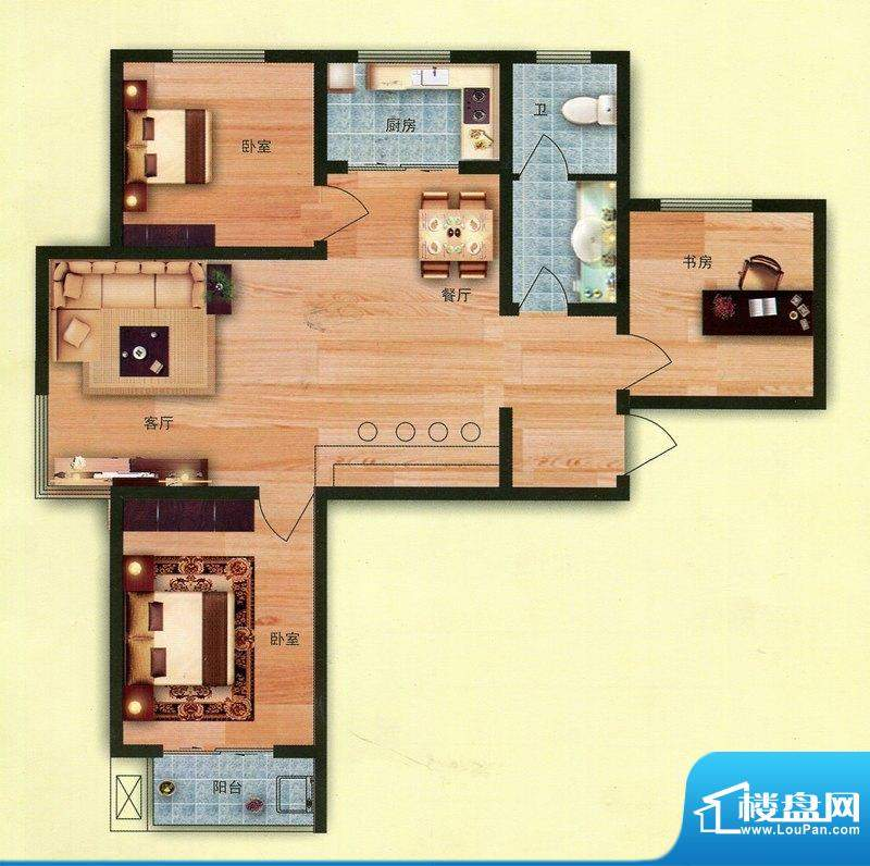 花香维也纳6号楼J户面积:118.00m平米