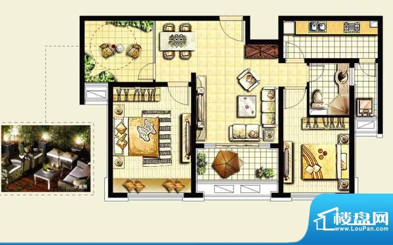 绿地城户型图 2室1厅面积:96.00平米