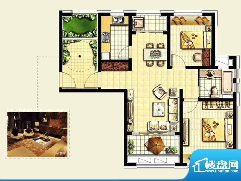 绿地城户型图 2室2厅面积:92.00平米