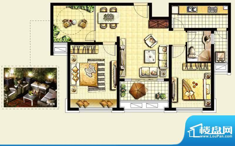 绿地城户型图 2室2厅面积:96.00平米