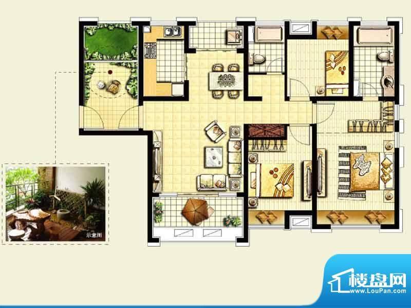绿地城户型图 3室2厅面积:125.00平米