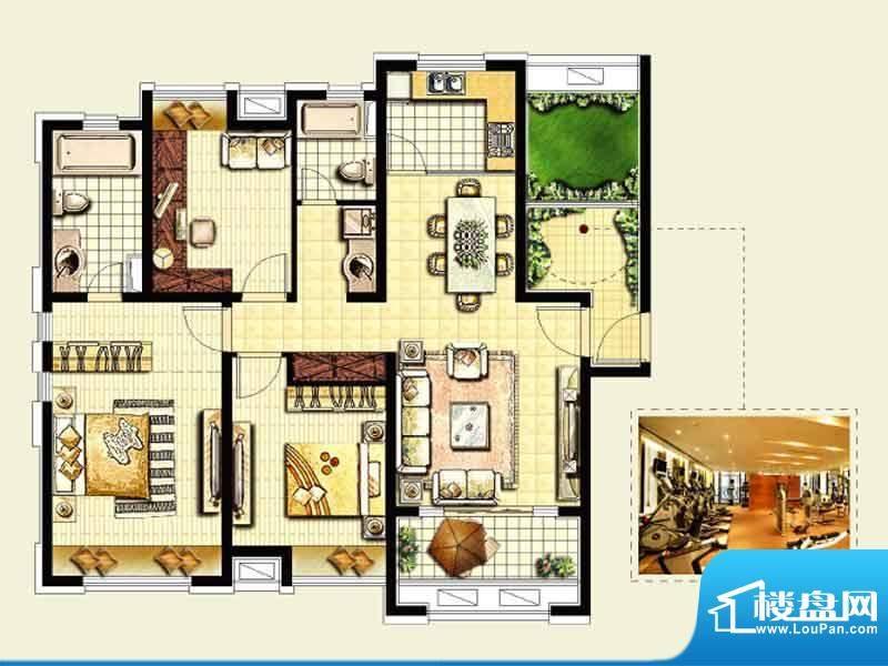 绿地城户型图 3室2厅面积:130.00平米