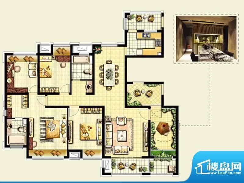 绿地城户型图 4室2厅面积:161.00平米