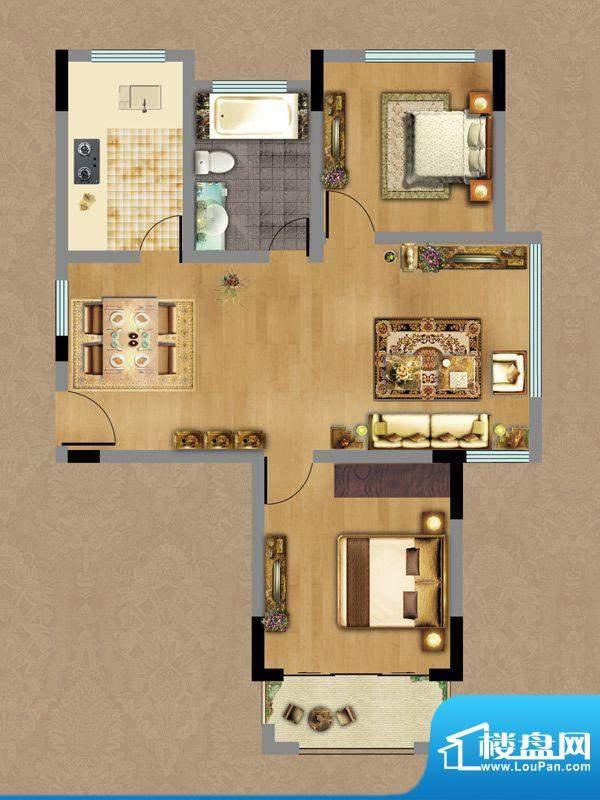 香缇雅苑A1户型 2室面积:79.77平米