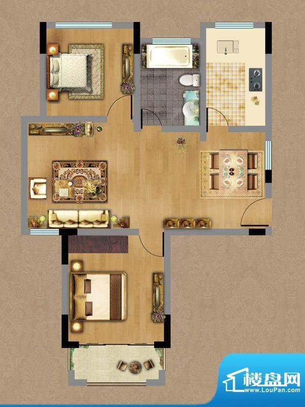 香缇雅苑A户型 2室2面积:79.77平米