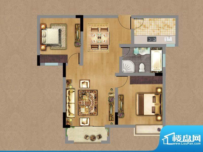 香缇雅苑B户型 2室2面积:79.55平米