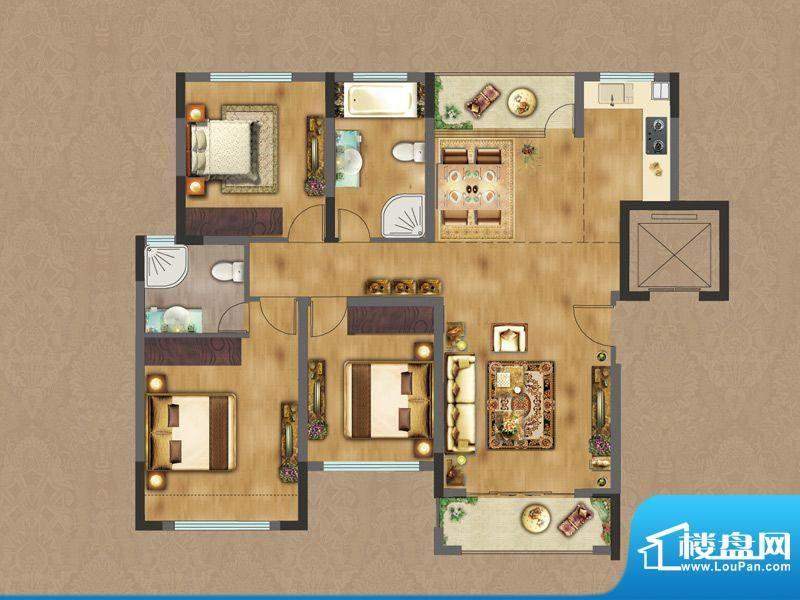 香缇雅苑D1户型 3室面积:118.62平米