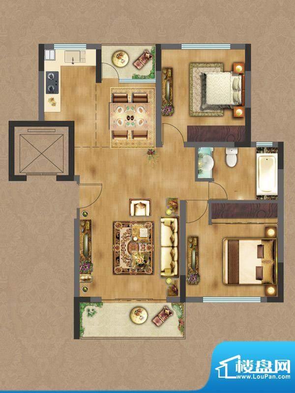 香缇雅苑D2户型 2室面积:86.53平米