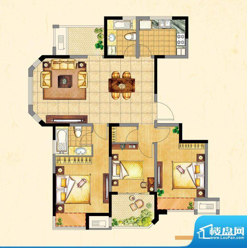 高成上海假日户型图面积:136.00平米