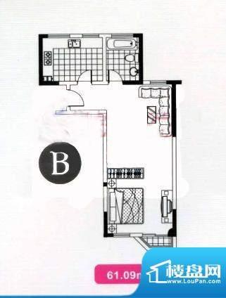 高成上海假日B型 1室面积:61.09平米