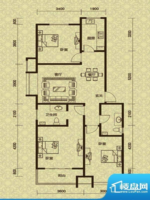 御龙湾1号楼A1户型面积:118.00m平米