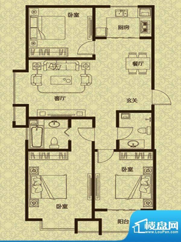 御龙湾2、3号楼A2户面积:123.00m平米