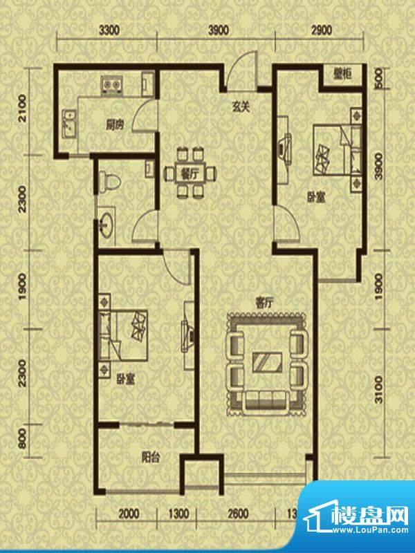 御龙湾1号楼B1户型面积:100.00m平米