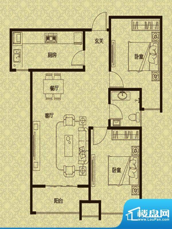 御龙湾2、3号楼B2户面积:96.00m平米