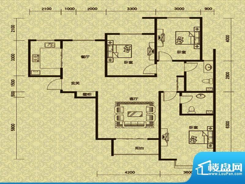 御龙湾1号楼C1户型面积:140.00m平米