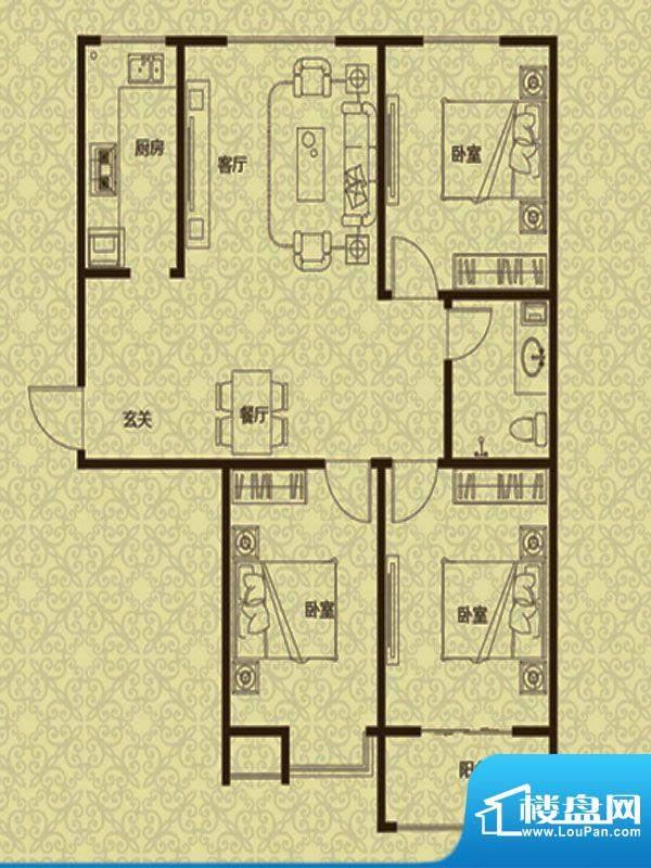 御龙湾2、3号楼C2户面积:115.00m平米
