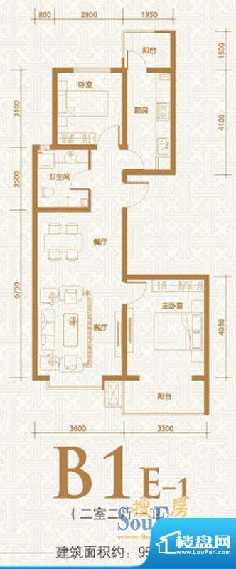 融和时代B1E-1户型图面积:95.74m平米
