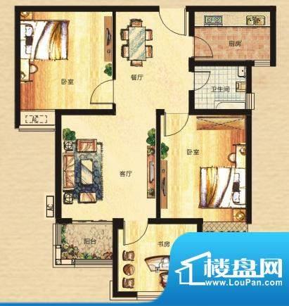 奥园康城户型G5B面积:90.90m平米