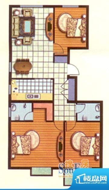 紫台一品二期三室两面积:143.98m平米