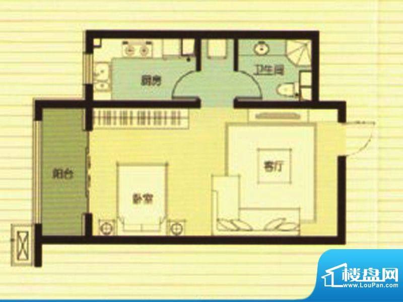 武阳秀美C座1-D户型面积:62.25m平米