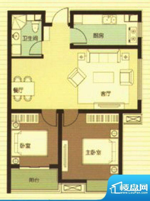 武阳秀美D座2-F户型面积:89.57m平米
