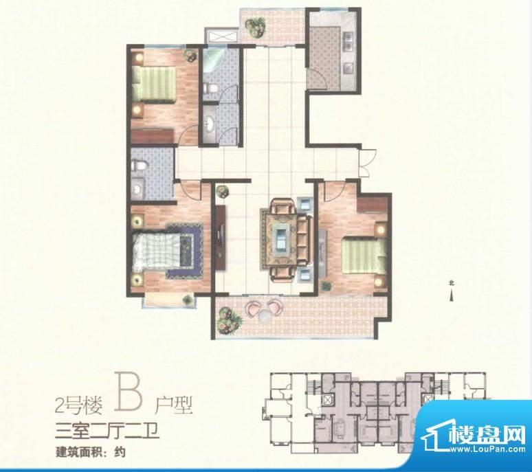 秀水雅苑二号楼B户型面积:0.00m平米