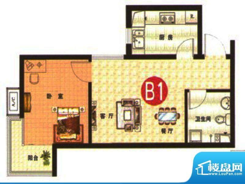 武阳丽园I1、2号楼B面积:56.00m平米