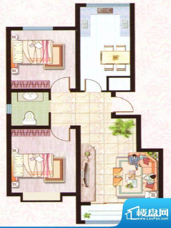 紫塞桃园A户型 2室2面积:92.92m平米