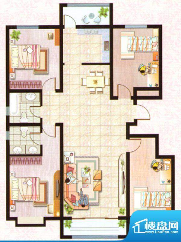 紫塞桃园B户型 4室2面积:158.70m平米