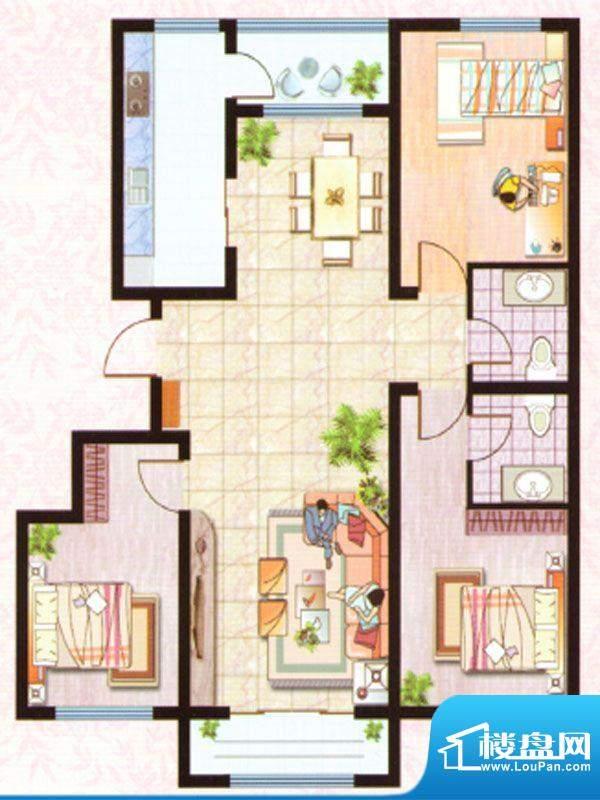 紫塞桃园C户型 3室2面积:127.66m平米