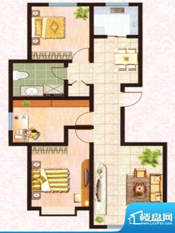 紫塞桃园D户型 3室2面积:111.71m平米