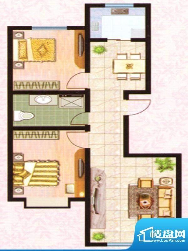 紫塞桃园E户型 2室2面积:91.33m平米
