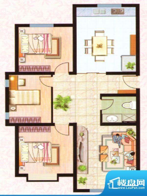 紫塞桃园F户型 3室2面积:115.94m平米