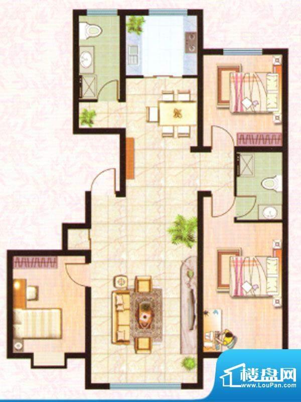 紫塞桃园G户型 3室2面积:130.36m平米