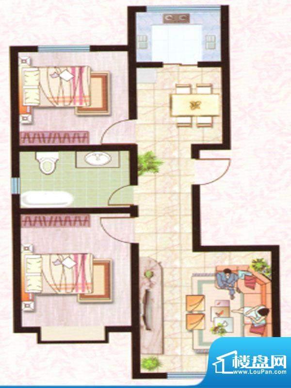 紫塞桃园H户型 2室2面积:93.00m平米