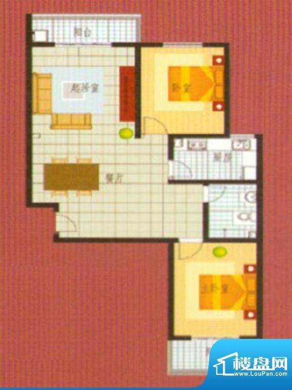 悦城华府户型4面积:94.00m平米