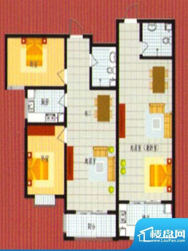 悦城华府户型3面积:157.00m平米
