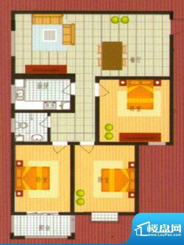 悦城华府户型1面积:133.00m平米